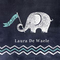 Olifant met vlag - Geboortekaartje  www.carddreams.be
