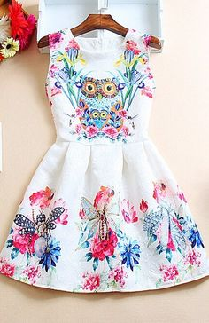 Sweet Printed Vest Dress