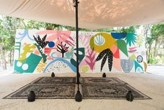 Two mural installations at Habitas Tulum for Art With Me GNP Tulum, Mexico. Mural Wall Art, Mural Painting, Outdoor Wall Paint, Wal Art, School Murals, Murals Street Art, Fence Art, Abstract Painters, Outdoor Art