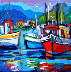 Artwork of Isabel le Roux exhibited at Robertson Art Gallery. Original art of more than 60 top South African Artists - Since Abstract Landscape Painting, Landscape Art, Fauvism Art, Seaside Art, Sailboat Painting, South African Art, Oil Pastel Art, Boat Art, Modern Impressionism