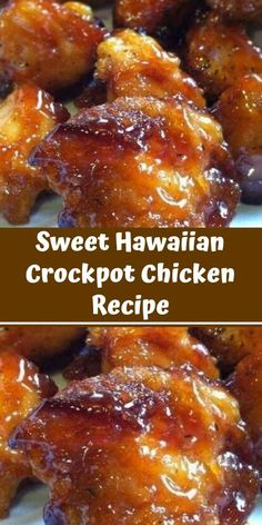 Sweet Hawaiian Crockpot Chicken Recipe Sweet Hawaiian Slow-Cooker Chicken only . - My list of the best food recipes Meat Recipes, Slow Cooker Recipes, Chicken Recipes, Cooking Recipes, Dinner Recipes, Recipies, Recipe Chicken, Healthy Recipes, Recipes With Chicken Chunks