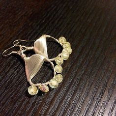 Crystal beads dangling earrings hand wrapped with silver wire by HoneyMoonNYC on Etsy