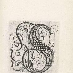 Penmanship, Caligraphy, Monograms, Anonymous, Gothic, Prints, Vintage, Art, Typography