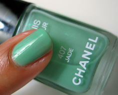 What's up, Jade-a-kisses? Ever since I saw pictures of the Chanel runway models rocking jade green nails earlier this year, I've been dying, DYING to get Jade Nails, Green Nails, Verde Jade, Dark Nail Polish, Makeup And Beauty Blog, Chanel Runway, Jade Green, Favorite Color, Swatch