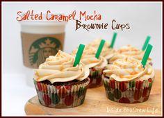 Salted Caramel Mocha Brownie Cups - mocha brownies with a hidden caramel Hershey kiss and topped with a salted caramel butter cream  #Hersheys #brownies #saltedcaramel http://www.insidebrucrewlife.com