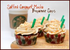 Salted Caramel Mocha Brownie Cups - mocha brownies with a hidden caramel Hershey kiss and topped with a salted caramel butter cream   http://www.insidebrucrewlife.com