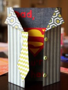 If your dad is your hero, then he will love this awesome Superman style card!