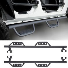 "3/"" Round Chrome Side Step Bar For 2007-2017 Jeep Wrangler JK 4 Dr Running Board"