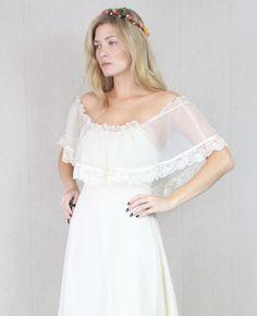 Vtg 60s/70s Cream Sheer Boho Hippie Wedding Prairie Lace Draped Maxi Bridal Dress. $725.00, via Etsy.