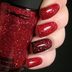 Stunning nails for the Holidays. MAC Sparks on Screen over MAC Flaming Rose.. and over a black accent nail