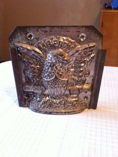 Antique Vintage Tin Chocolate Mold of Liberty Eagle