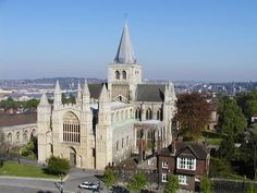 Rochester Cathedral, Kent, England.  As seen from the neighbouring castle