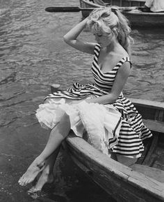 Striped dress with petticoats.