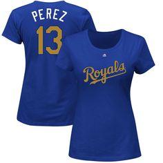 71cbd5536fa Women s Kansas City Royals Salvador Perez Majestic Royal 2015 World Series  Champions Gold Program Name   Number T-Shirt