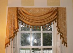 fringy swag and jabot Window Swags, Window Coverings, Window Treatments, Bed Crown, Drapery Hardware, Drapes Curtains, Tassels, Bedrooms, Windows