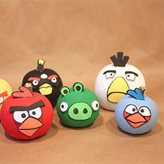 Transform your mini pumpkins into Angry Birds characters with a little acrylic paint and craft foam from the Dollar Store!
