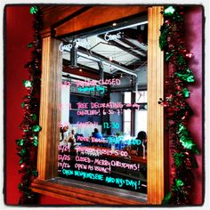 "The ""Good Things To Come"" board - take note, friends:  12/17: Taproom CLOSED (Employee Day) 12/19: Tree Decorating - All Day Caroling! 6:30-7:30 12/22: Santa Comes! 12:30 Movie Night ""Elf"" - 6:00 12/24: Taproom Closes at 5:00 12/25: CLOSED - Merry Christmas! 12/26: Open at Usual!  Open New Year's Eve & New Year's Day!"