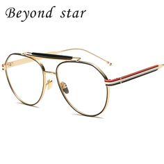 5ce2289229 Beyond Star Vintage Eyewear Metal Frames Glasses Clear Lens Women Men  Aviator Eyeglasses Fashion Optical Glasses