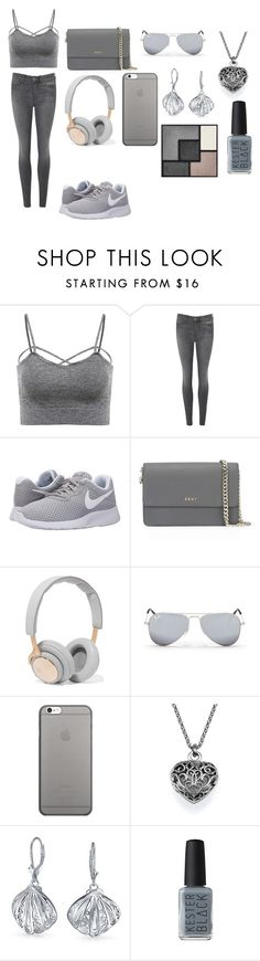 """""""All Grey Swagg"""" by breezybrebre on Polyvore featuring beauty, M.i.h Jeans, NIKE, DKNY, B&O Play, Ray-Ban, Native Union, Bling Jewelry, Kester Black and Yves Saint Laurent"""