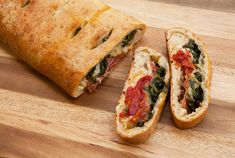 Stromboli....We made this tonight.  Use whole grain bread dough, sliced provolone, roasted sweet peppers, baby spinach, and chopped fresh basil (.99 small package at W-M).  Easy and healthy!