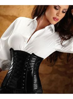 Incredibly sophisticated and sexy. A black leather underbust corset worn backwards, and paired with a tailored white blouse and a black pant. http://www.abeautifulcorset.com/products/Charmer-Corset.html