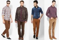 Good contrast combination of khakhi chinos with contrast shirt
