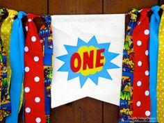 Superhero Birthday Banner Highchair High Chair by SeacliffeCottage