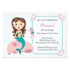 "Little mermaid girl cute girly birthday invitation 4.5"" x 6.25"" invitation card"