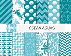 Ocean Aqua Digital Paper: OCEAN AQUA  with by TwooverTwoStudio