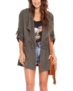 Grey Hooded Waterfall Lapel Duster Coat JA0130001-2