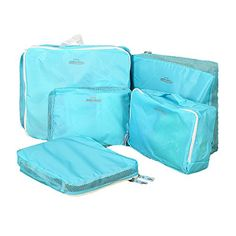 Gobuy Luggage Packing Organiser Travel Storage Bag Solid Color  Blue Pack of 5 *** Want to know more, click on the image. (Note:Amazon affiliate link)
