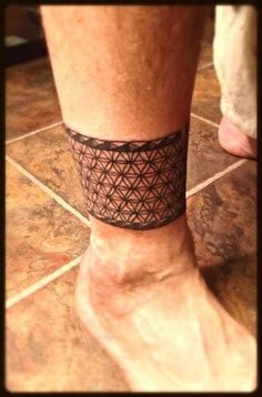 Flower of life ankle band tattoo, sacred geometry anklet tattoo