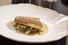 Pan-Fried Stone Bass, Mussels, Tomato, Cucumber & Spring Onion
