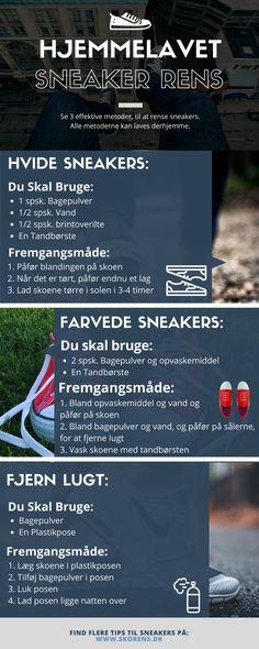Denne infografik er en forklaring på hvordan man nemmest kan lave hjemmelavet sko rens. Den viser 3 effektive eksempler på sneaker rens, som er lavet på ting, som kan findes i hjemmet.