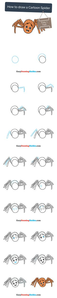 Learn How to Draw a Cartoon Spider: Easy Step-by-Step Drawing Tutorial for Kids and Beginners. #spider #drawing #tutorial. See the full tutorial at https://easydrawingguides.com/how-to-draw-a-cartoon-spider/