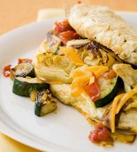 Souffle Omelet with Zucchini, Artichoke, & Cheddar