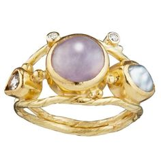 Bergsoe Pink Sapphire Pearl Diamond Gold Ring | From a unique collection of vintage more-rings at  www.1stdibs.com/...