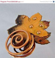 Matisse Copper #Vintage Brooch Autumn Leaf