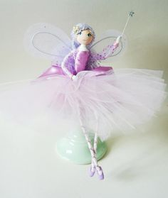 Fairy Godmother handmade and unique art doll - Lucy-Lou - can also be used as a Christmas Tree Topper