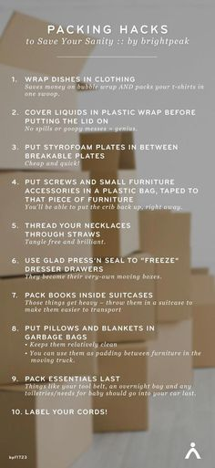 Top Ten Packing Hacks to Save Your Sanity I've done my fair share of moving over the years, so what's the biggest thing I've learned? check out these packing hacks that will save you time & money. Moving Home, Moving Day, Moving Tips, Moving Hacks, Moving House Tips, Info Board, Organizar Closets, Move On Up, Big Move