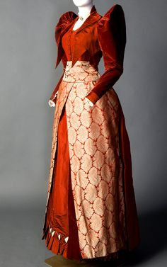 Rust-colored silk velvet, satin, faille, taffeta, and brocade day dress (front), by Mme. Lambele de St. Omer, American (New York), ca. 1891-92. Smith College Historic Clothing.