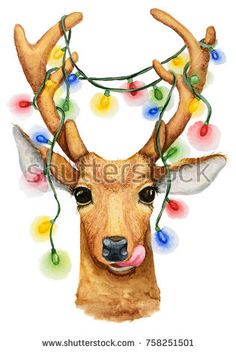 Christmas deer with a garland illustration. Watercolor drawing isolated. Stock photography, images, pictures, Illustrations, ideas. Download vector illustrations and photos on Shutterstock, Istockphoto, Fotolia, Adobe, Dreamstime