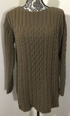 97b9878965 J Jill Sweater Ladies Medium Chenille Cable Soft Tunic Top Olive Brown   JJill