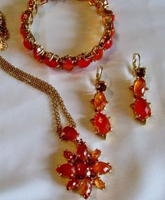 Joan Rivers Orange Briolette Cut Crystal Necklace Bracelet Earrings Goldtone #JoanRivers #Statement
