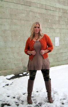 Distressed Tunic Tank, perfect combo with these Camo Leggings and Rust colored Cardi. — at Our Little Store Boutique. #leggings #camo #fashiontunic #ootd #ourlittlestoreboutique #weship