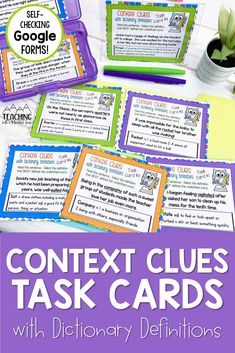 Help your students to read and determine the meaning of a dictionary definition with this set of differentiated context clues task cards for upper elementary. Perfect for distance and at-home learning. This activity includes printable and self-checking Google forms versions that integrate perfectly with google classroom for digital classrooms. Comprehension Strategies, Reading Comprehension, Third Grade Reading, Authors Purpose, Common Core Reading, Literature Circles, Context Clues, Upper Elementary, Google Classroom