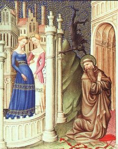 St. Jerome Tempted by Dancing Girls - Limbourg brothers