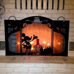 Mickey Mouse Disney fire screen. Tons of photos for more Mickey Mouse decorating on a Cheapskate Princess budget!