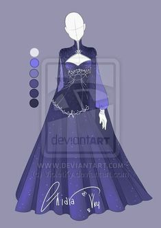 :: Adoptable Star Outfit: Auction CLOSED:: by VioletKy on DeviantArt <--- Ha! Reference for Islinde's ballgown Dress Drawing, Drawing Clothes, Anime Outfits, Cool Outfits, Pretty Dresses, Beautiful Dresses, Kleidung Design, Anime Dress, Fantasy Dress