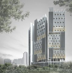 RTNQ is an award winning architectural firm in Singapore. Works range from individual houses, condominiums, resorts, offices and commercial buildings to masterplanning projects. Social Housing Architecture, Unique Architecture, Commercial Architecture, Classical Architecture, Facade Architecture, Residential Architecture, Tower Building, High Rise Building, Building Facade